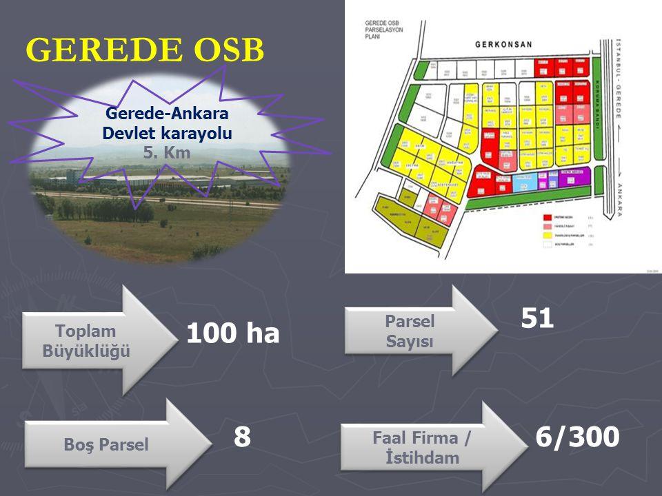 GEREDE OSB Toplam Büyüklüğü Parsel Sayısı Parsel Sayısı 51 100 ha Gerede-Ankara Devlet karayolu 5.