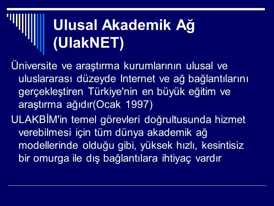 Ulusal Akademik Ağ (UlakNET) Üniversite ve araştırma kurumlarının ulusal ve uluslararası düzeyde Internet ve ağ bağlantılarını gerçekleştiren Türkiye'