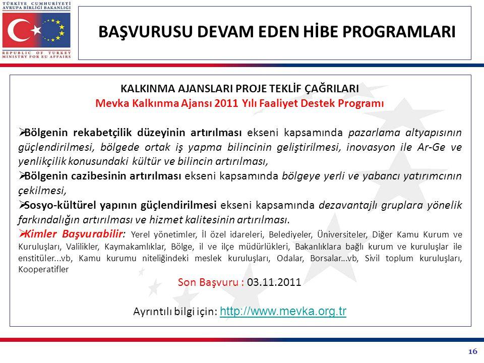 16 BAŞVURUSU DEVAM EDEN HİBE PROGRAMLARI KALKINMA AJANSLARI PROJE TEKLİF ÇAĞRILARI Mevka Kalkınma Ajansı 2011 Yılı Faaliyet Destek Programı  Bölgenin
