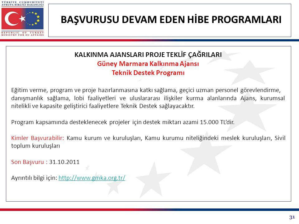 31 BAŞVURUSU DEVAM EDEN HİBE PROGRAMLARI KALKINMA AJANSLARI PROJE TEKLİF ÇAĞRILARI Güney Marmara Kalkınma Ajansı Teknik Destek Programı Eğitim verme,