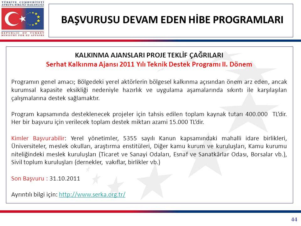 44 BAŞVURUSU DEVAM EDEN HİBE PROGRAMLARI KALKINMA AJANSLARI PROJE TEKLİF ÇAĞRILARI Serhat Kalkınma Ajansı 2011 Yılı Teknik Destek Programı II. Dönem P