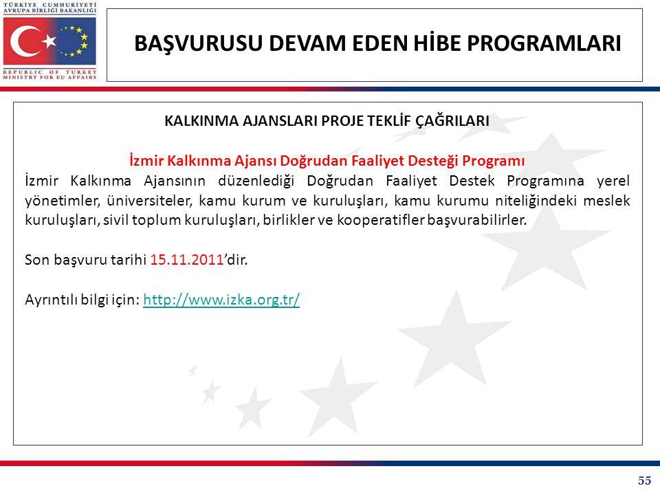 55 BAŞVURUSU DEVAM EDEN HİBE PROGRAMLARI KALKINMA AJANSLARI PROJE TEKLİF ÇAĞRILARI İzmir Kalkınma Ajansı Doğrudan Faaliyet Desteği Programı İzmir Kalk