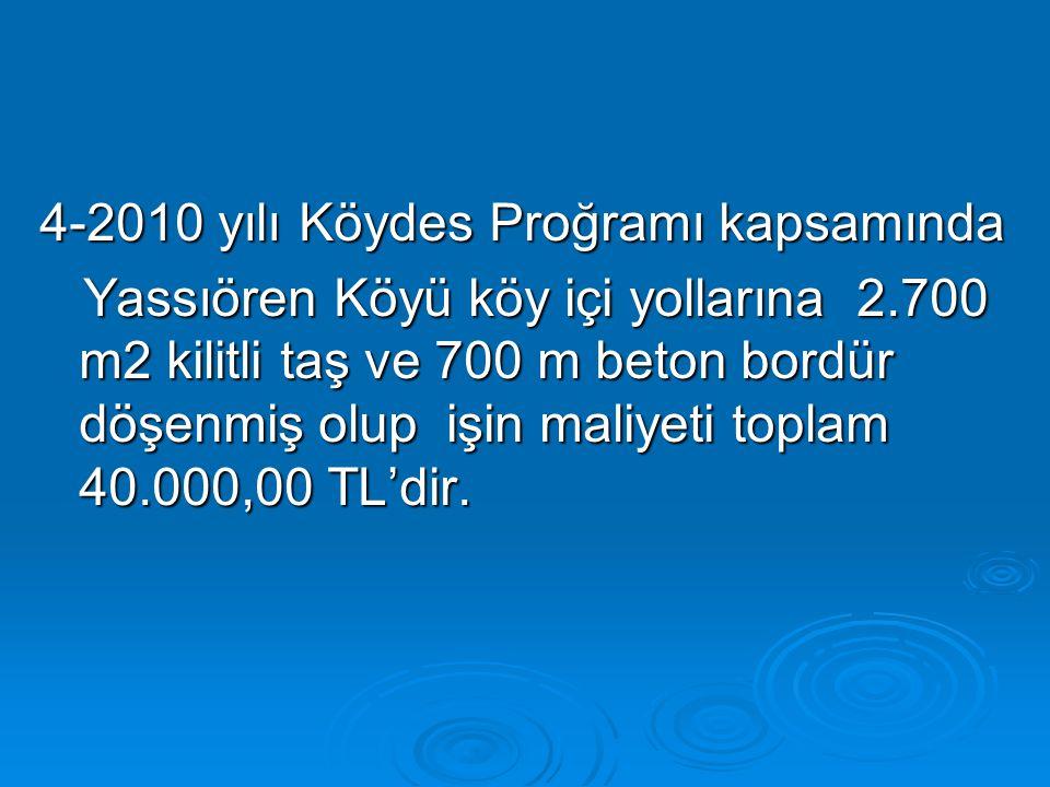 4-2010 yılı Köydes Proğramı kapsamında Yassıören Köyü köy içi yollarına 2.700 m2 kilitli taş ve 700 m beton bordür döşenmiş olup işin maliyeti toplam