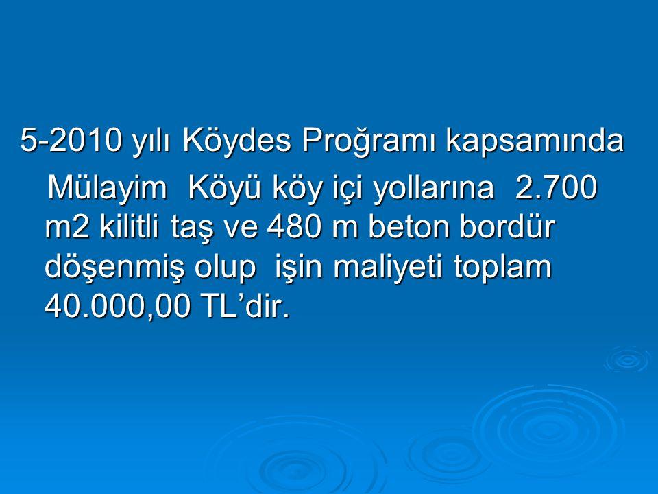 5-2010 yılı Köydes Proğramı kapsamında Mülayim Köyü köy içi yollarına 2.700 m2 kilitli taş ve 480 m beton bordür döşenmiş olup işin maliyeti toplam 40