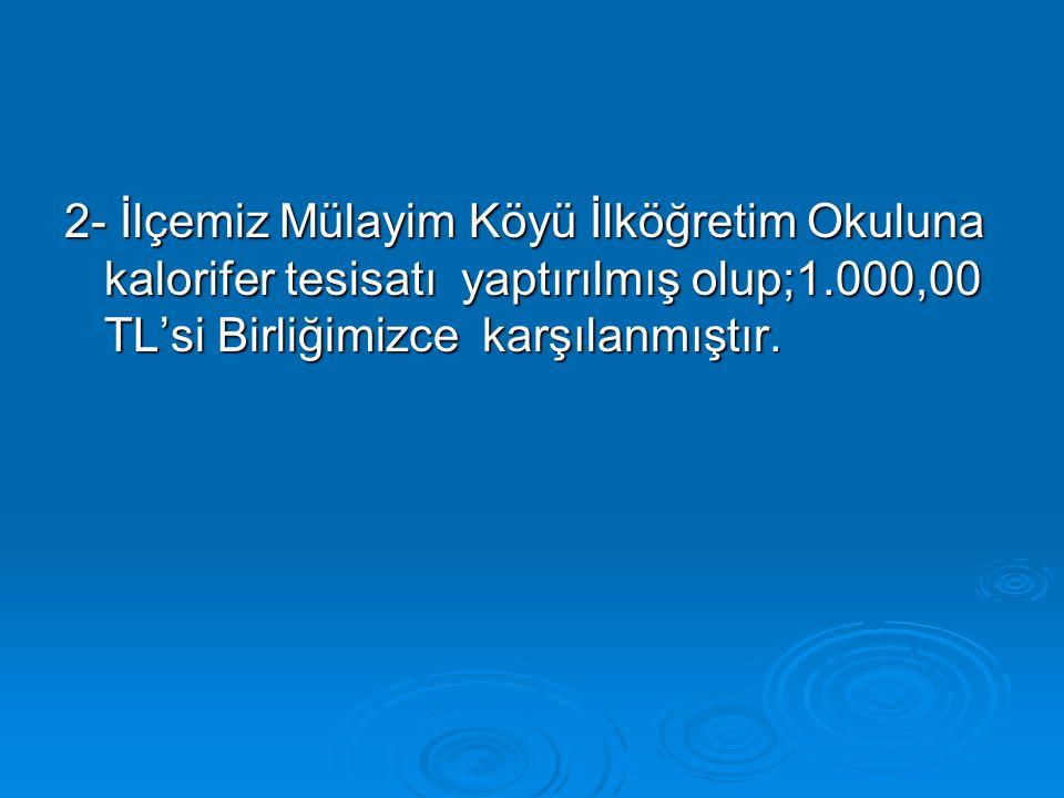  8-İl Özel İdaresinden gönderilen ödenekle; İlçemiz Mülayim Köyü ek kanalizasyon hattı için 775 adet beton büz alınmış olup, işin maliyeti 7.600,00 TL'dir.