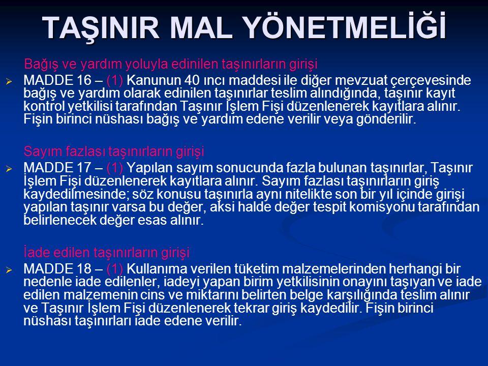 TAŞINIR MAL YÖNETMELİĞİ Bağış ve yardım yoluyla edinilen taşınırların girişi   MADDE 16 – (1) Kanunun 40 ıncı maddesi ile diğer mevzuat çerçevesinde