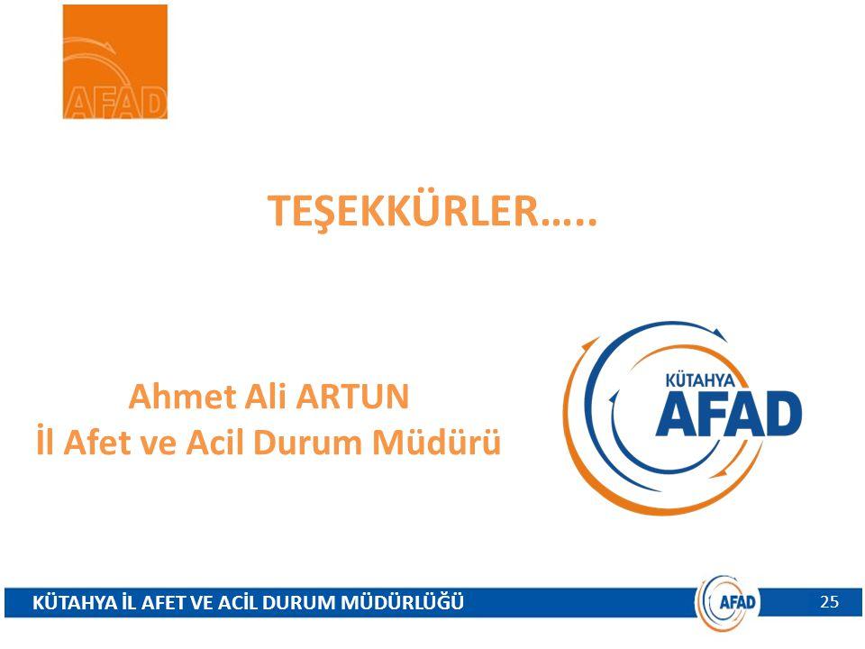 TEŞEKKÜRLER….. KÜTAHYA İL AFET VE ACİL DURUM MÜDÜRLÜĞÜ 25 Ahmet Ali ARTUN İl Afet ve Acil Durum Müdürü