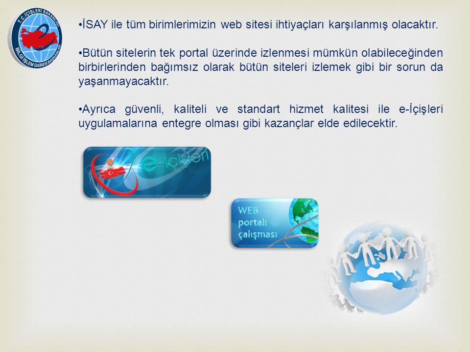 İSAY ile tüm birimlerimizin web sitesi ihtiyaçları karşılanmış olacaktır. Bütün sitelerin tek portal üzerinde izlenmesi mümkün olabileceğinden birbirl