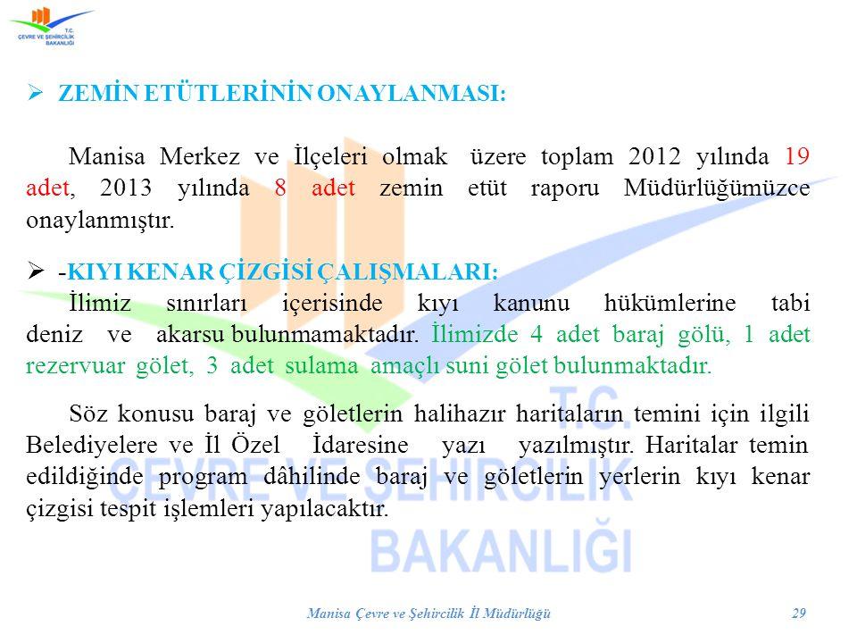 ZEMİN ETÜTLERİNİN ONAYLANMASI: Manisa Merkez ve İlçeleri olmak üzere toplam 2012 yılında 19 adet, 2013 yılında 8 adet zemin etüt raporu Müdürlüğümüz