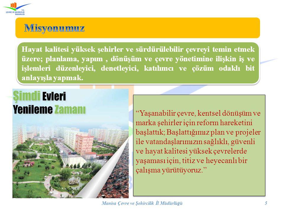 Manisa Çevre ve Şehircilik İl Müdürlüğü5 Hayat kalitesi yüksek şehirler ve sürdürülebilir çevreyi temin etmek üzere; planlama, yapım, dönüşüm ve çevre