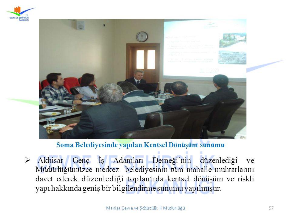 Manisa Çevre ve Şehircilik İl Müdürlüğü57 Soma Belediyesinde yapılan Kentsel Dönüşüm sunumu  Akhisar Genç İş Adamları Derneği'nin düzenlediği ve Müdü