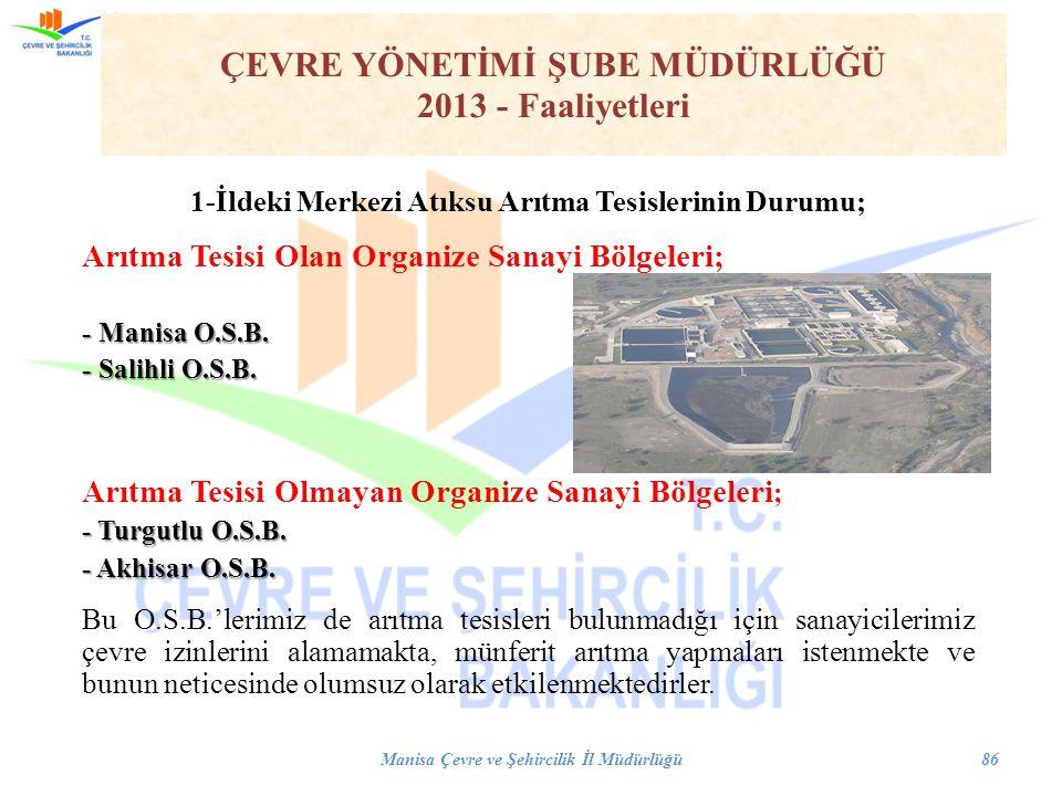 1-İldeki Merkezi Atıksu Arıtma Tesislerinin Durumu; Arıtma Tesisi Olan Organize Sanayi Bölgeleri; - Manisa O.S.B. - Salihli O.S.B. Arıtma Tesisi Olmay