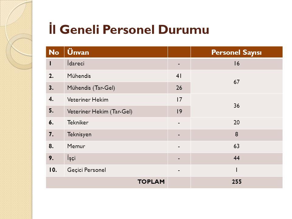 İ l Geneli Personel Durumu NoÜnvanPersonel Sayısı 1 İ dareci-16 2.Mühendis41 67 3.Mühendis (Tar-Gel)26 4.