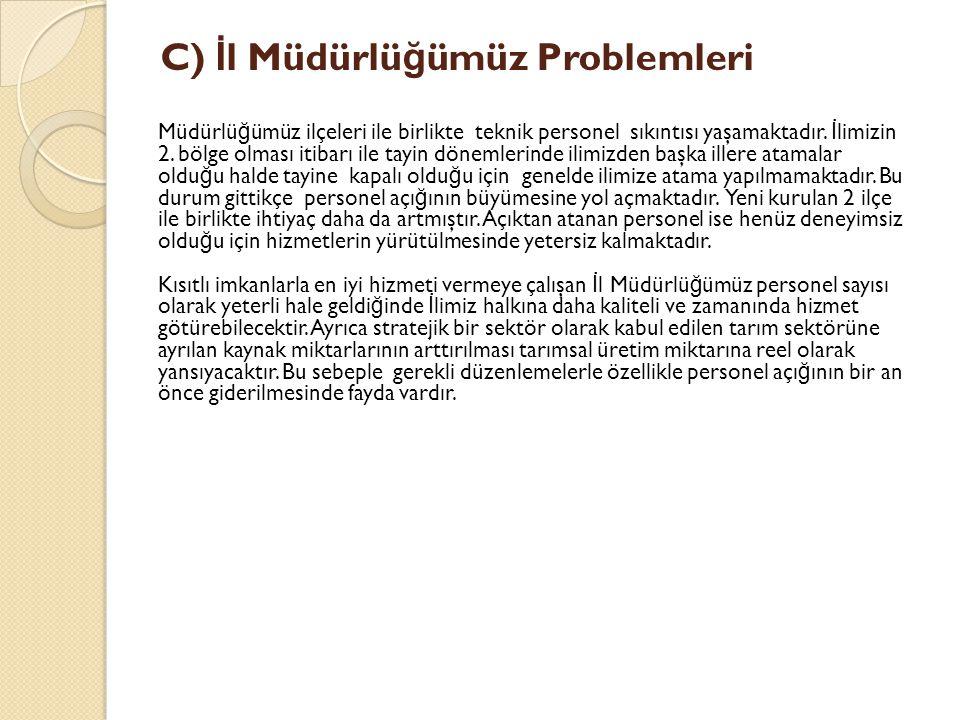 C) İ l Müdürlü ğ ümüz Problemleri Müdürlü ğ ümüz ilçeleri ile birlikte teknik personel sıkıntısı yaşamaktadır.