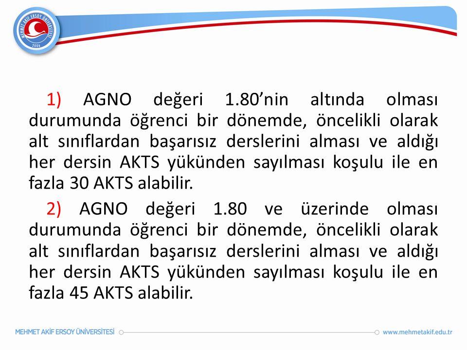 1) AGNO değeri 1.80'nin altında olması durumunda öğrenci bir dönemde, öncelikli olarak alt sınıflardan başarısız derslerini alması ve aldığı her dersi