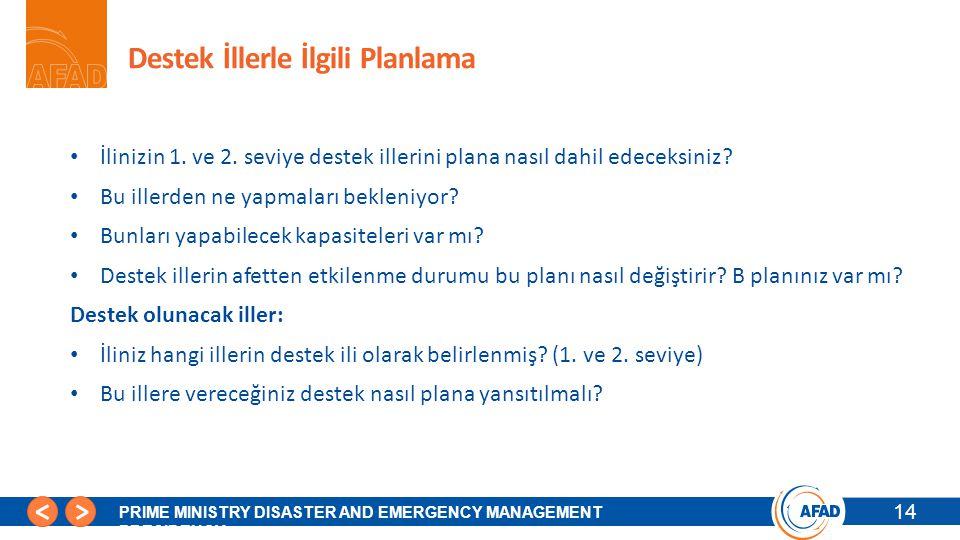 14 PRIME MINISTRY DISASTER AND EMERGENCY MANAGEMENT PRESIDENCY Destek İllerle İlgili Planlama İlinizin 1. ve 2. seviye destek illerini plana nasıl dah