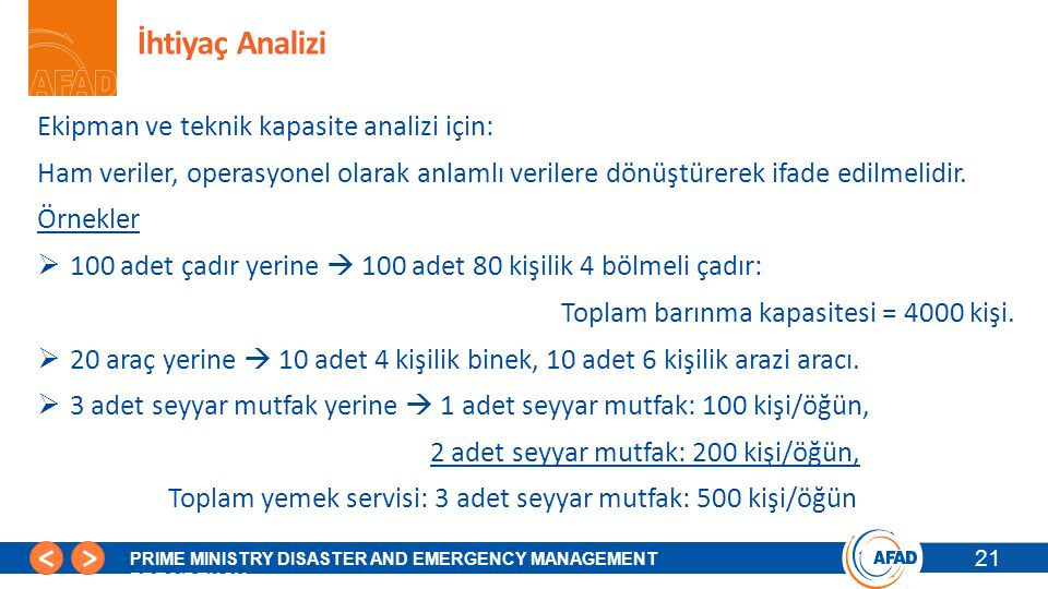 21 PRIME MINISTRY DISASTER AND EMERGENCY MANAGEMENT PRESIDENCY İhtiyaç Analizi 21 Ekipman ve teknik kapasite analizi için: Ham veriler, operasyonel ol