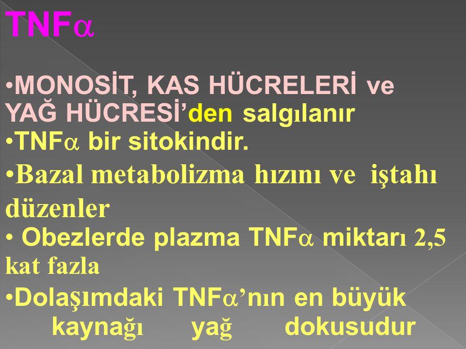 TNF  MONOSİT, KAS HÜCRELERİ ve YAĞ HÜCRESİ'den salg ı lanır TNF  bir sitokindir. Bazal metabolizma hızını ve iştahı düzenler Obezlerde plazma TNF 
