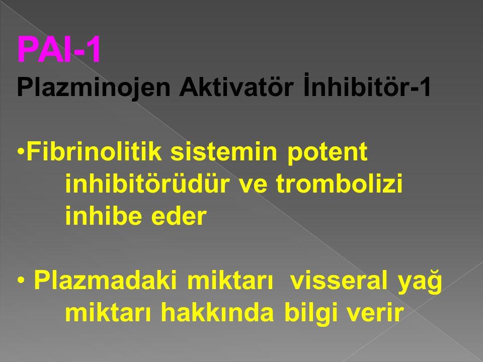 PAI-1 Plazminojen Aktivatör İnhibitör-1 Fibrinolitik sistemin potent inhibitörüdür ve trombolizi inhibe eder Plazmadaki miktarı visseral yağ miktarı hakkında bilgi verir