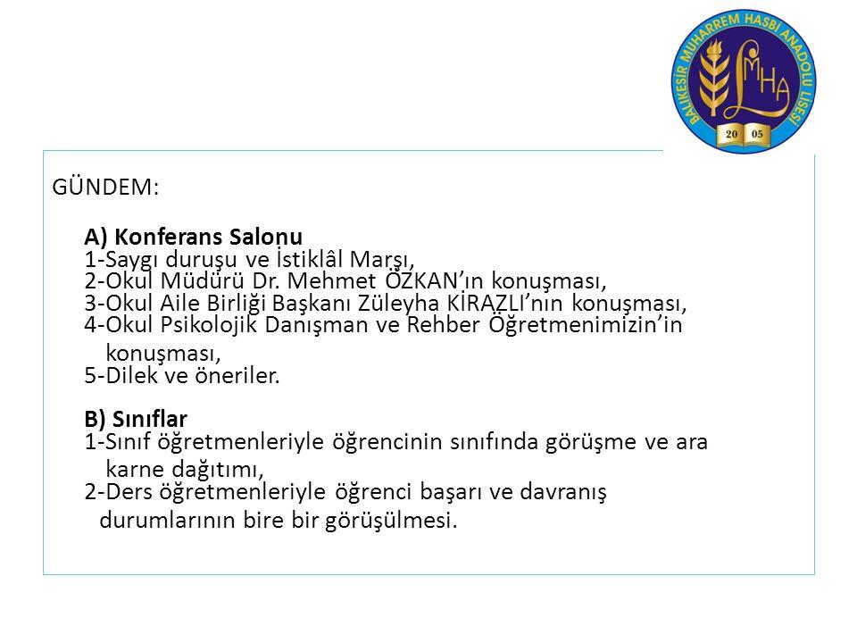 GÜNDEM: A) Konferans Salonu 1-Saygı duruşu ve İstiklâl Marşı, 2-Okul Müdürü Dr. Mehmet ÖZKAN'ın konuşması, 3-Okul Aile Birliği Başkanı Züleyha KİRAZLI