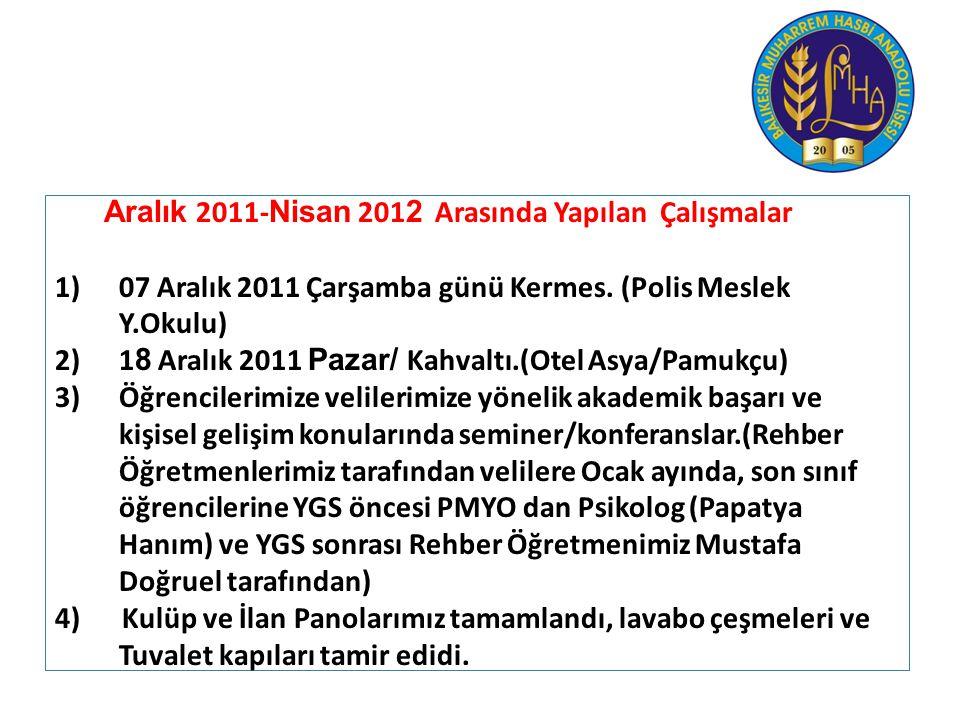 Aralık 2011- Nisan 201 2 Arasında Yapılan Çalışmalar 1)07 Aralık 2011 Çarşamba günü Kermes. (Polis Meslek Y.Okulu) 2)1 8 Aralık 2011 Pazar/ Kahvaltı.(