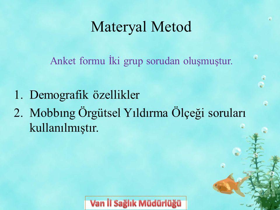 Materyal Metod Anket formu İki grup sorudan oluşmuştur. 1.Demografik özellikler 2.Mobbıng Örgütsel Yıldırma Ölçeği soruları kullanılmıştır.