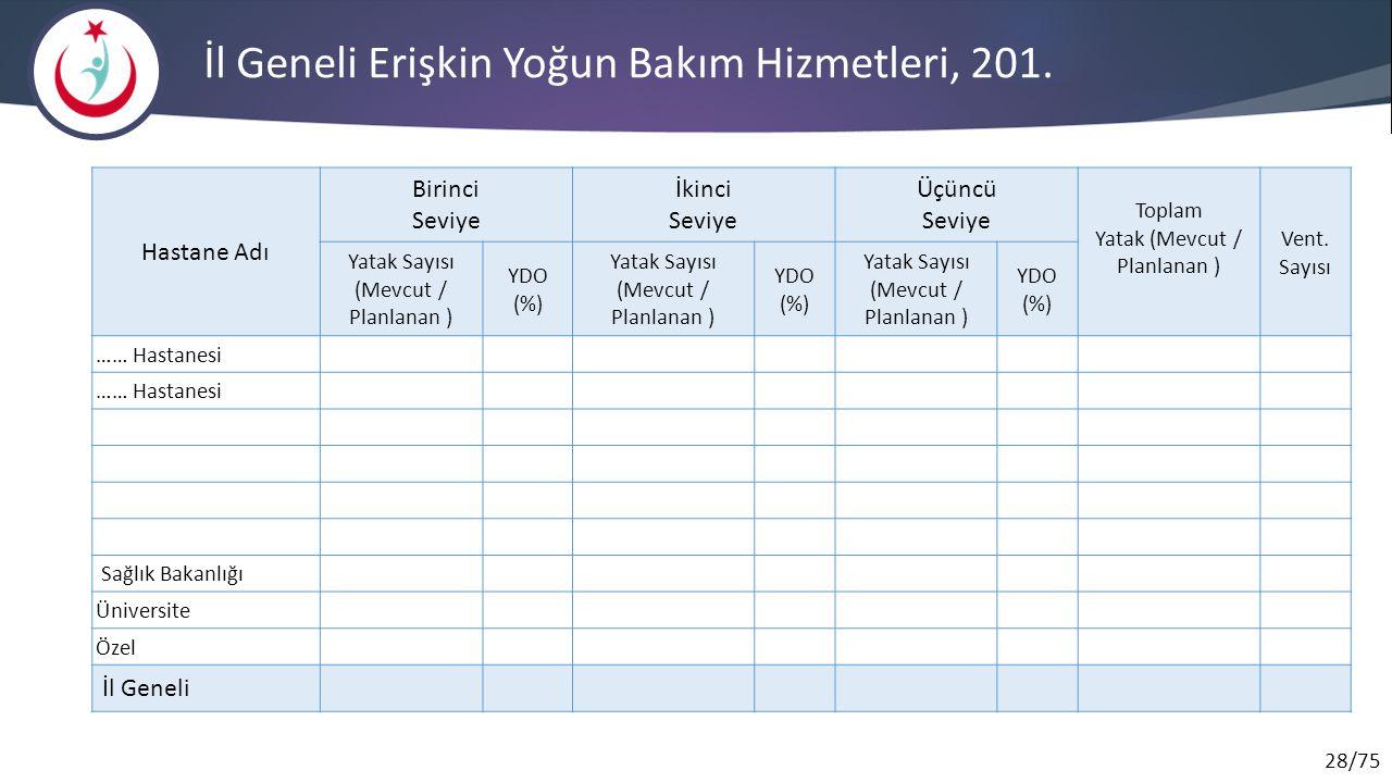 28/75 İl Geneli Erişkin Yoğun Bakım Hizmetleri, 201.