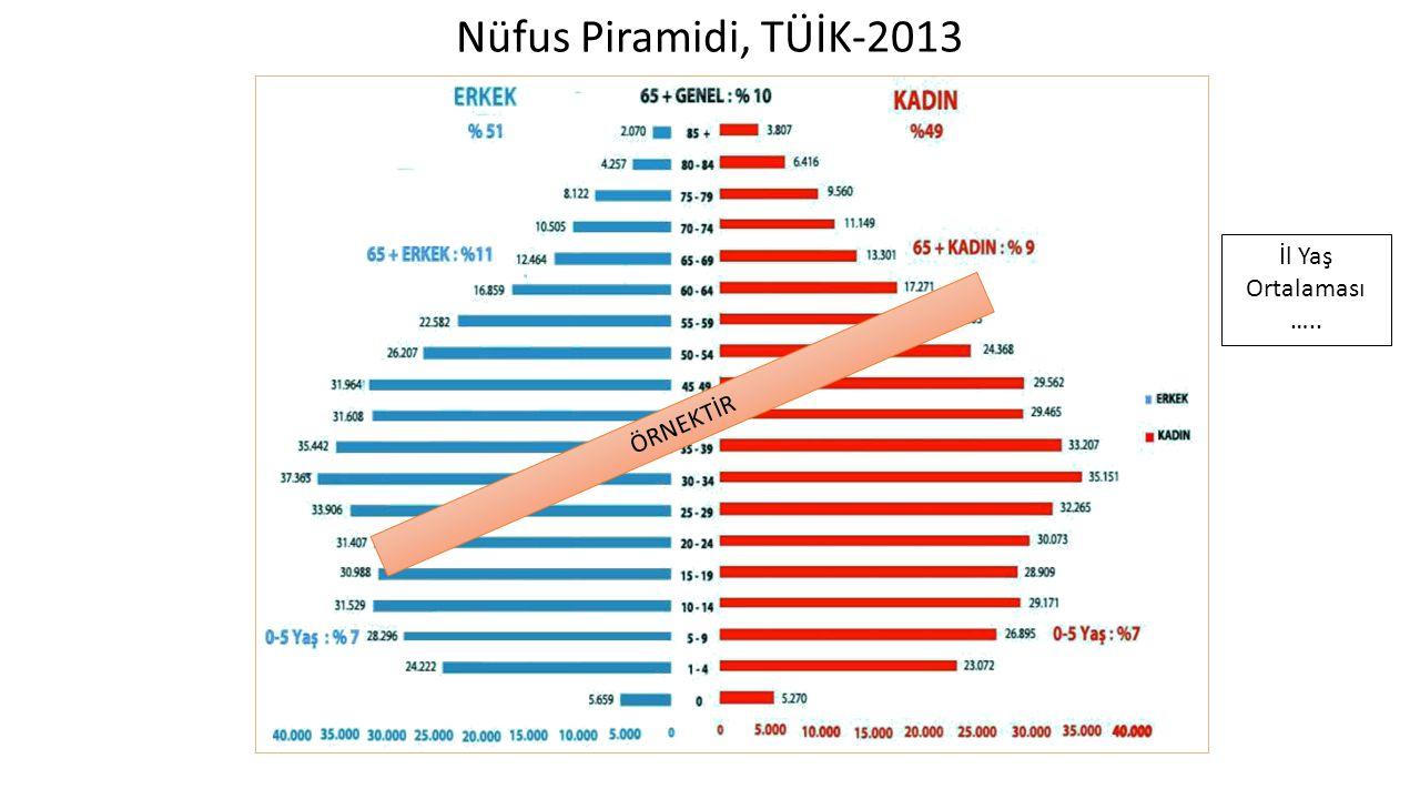 Nüfus Piramidi, TÜİK-2013 ÖRNEKTİR İl Yaş Ortalaması …..