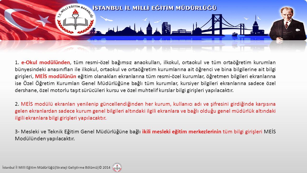 İstanbul İl Milli Eğitim Müdürlüğü|Strateji Geliştirme Bölümü|© 2014 4- Pansiyonlu okullarla ilgili bilgi girişleri; pansiyon açma, kapama, kapasite artırımı ve pansiyon türü değişikliği gibi işlemlerle ilgili yetkiler, pansiyonun bağlı olduğu genel müdürlüklerde olduğundan bu gibi değişiklikler Devlet Kurumlan Modülünden ilgili genel müdürlüklerce girilecektir.