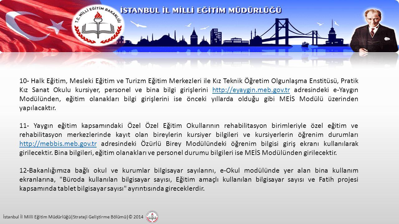 İstanbul İl Milli Eğitim Müdürlüğü|Strateji Geliştirme Bölümü|© 2014 13- MEİS Modülü bilgi girişi işlemleri tamamlandıktan sonra girilen bilgiler sırasıyla okul müdürü, ilçe milli eğitim müdürü ve il milli eğitim müdürü tarafından 3 aşamalı olarak kontrol edilerek onaylanacaktır.