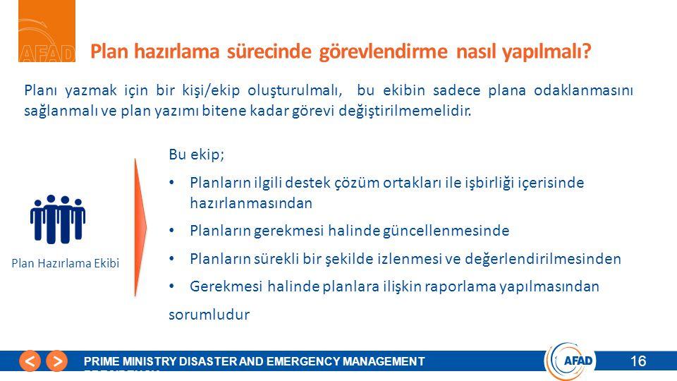 16 PRIME MINISTRY DISASTER AND EMERGENCY MANAGEMENT PRESIDENCY Plan hazırlama sürecinde görevlendirme nasıl yapılmalı.