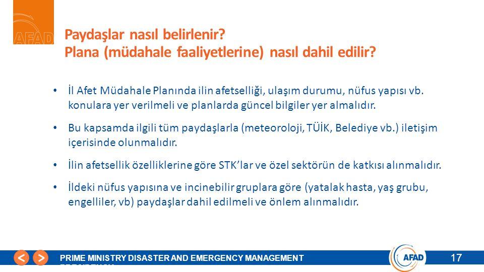 17 PRIME MINISTRY DISASTER AND EMERGENCY MANAGEMENT PRESIDENCY Paydaşlar nasıl belirlenir.