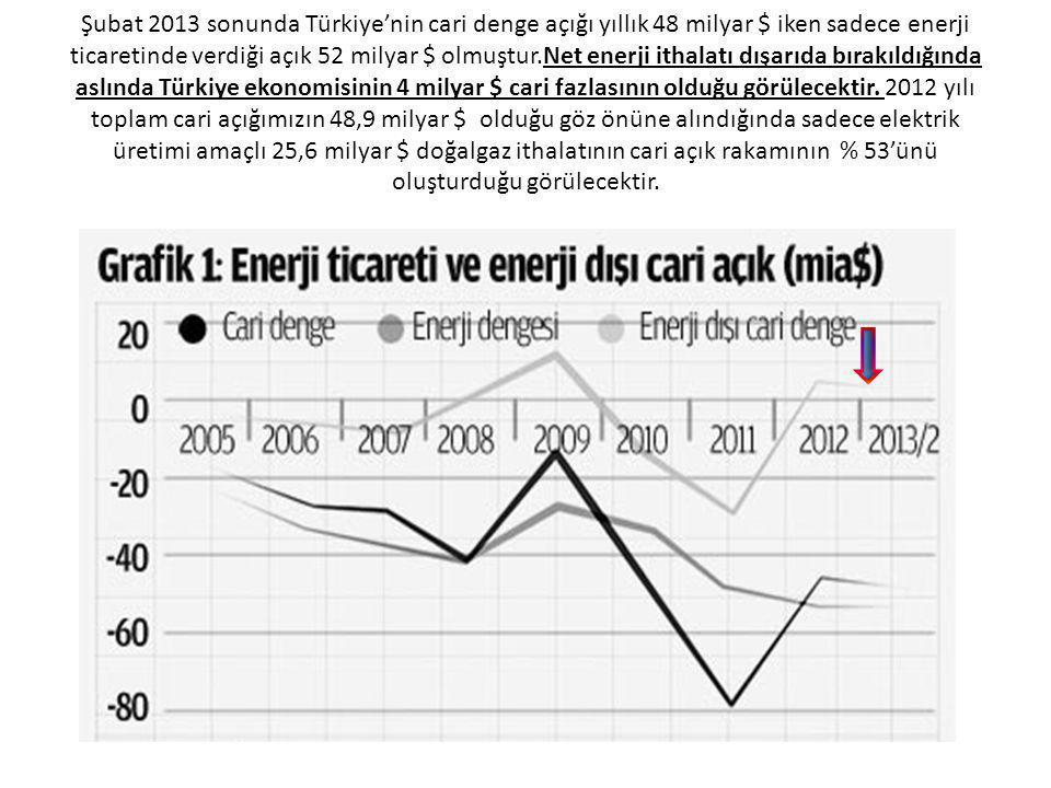 Şubat 2013 sonunda Türkiye'nin cari denge açığı yıllık 48 milyar $ iken sadece enerji ticaretinde verdiği açık 52 milyar $ olmuştur.Net enerji ithalatı dışarıda bırakıldığında aslında Türkiye ekonomisinin 4 milyar $ cari fazlasının olduğu görülecektir.