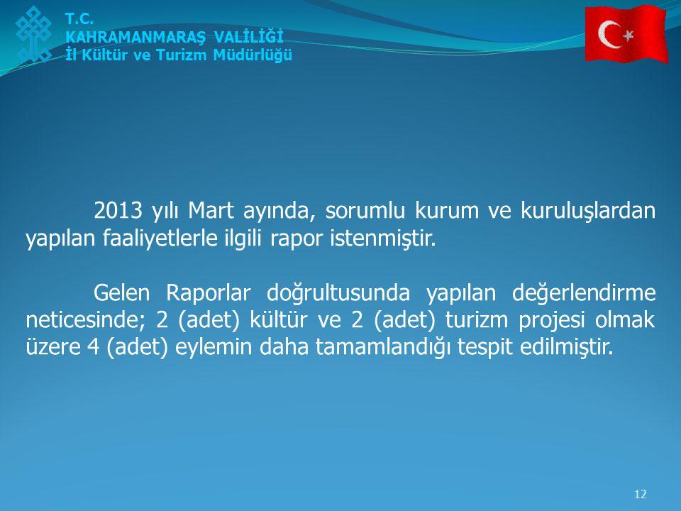 12 2013 yılı Mart ayında, sorumlu kurum ve kuruluşlardan yapılan faaliyetlerle ilgili rapor istenmiştir. Gelen Raporlar doğrultusunda yapılan değerlen