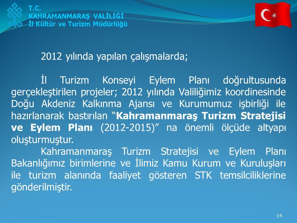 14 2012 yılında yapılan çalışmalarda; İl Turizm Konseyi Eylem Planı doğrultusunda gerçekleştirilen projeler; 2012 yılında Valiliğimiz koordinesinde Do