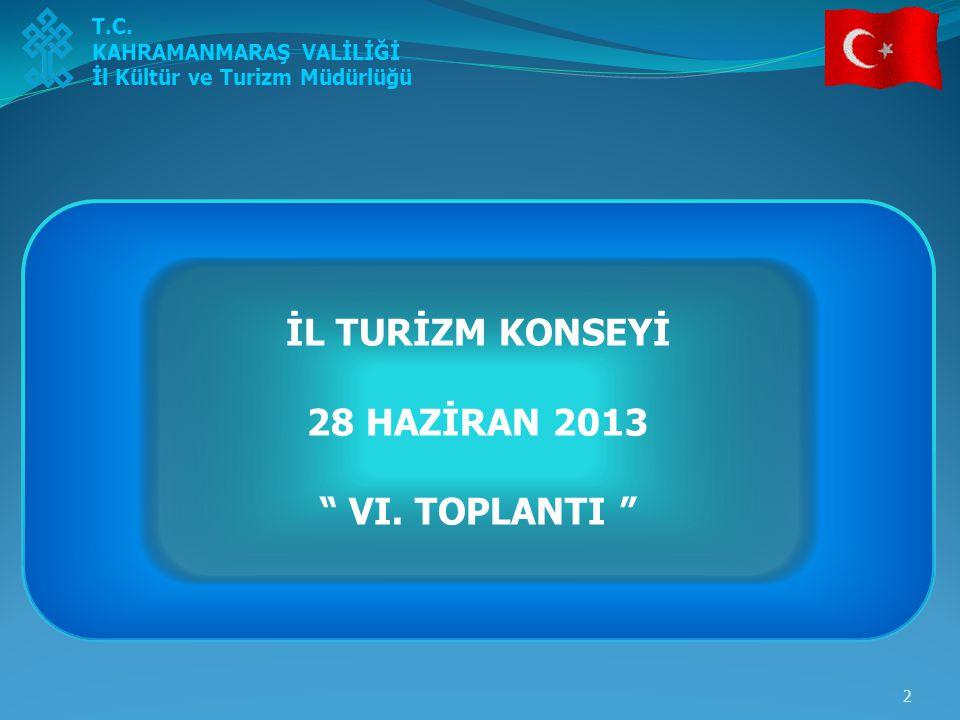"""2 T.C. KAHRAMANMARAŞ VALİLİĞİ İl Kültür ve Turizm Müdürlüğü İL TURİZM KONSEYİ 28 HAZİRAN 2013 """" VI. TOPLANTI """""""