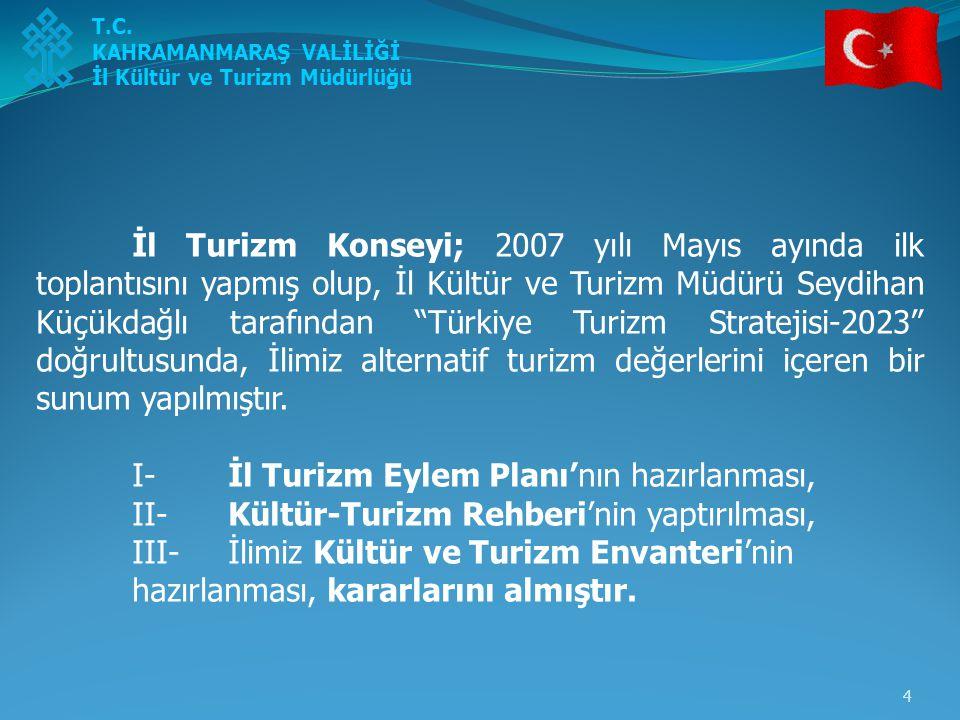 5 2007 yılı Haziran ayında; İl Turizm Eylem Planı Komisyonu oluşturulmuş, Kasım ayında ise hazırlanan Eylem Planı taslağının Turizm Konseyi (ikinci toplantısı) 'ne sunumu yapılmıştır.