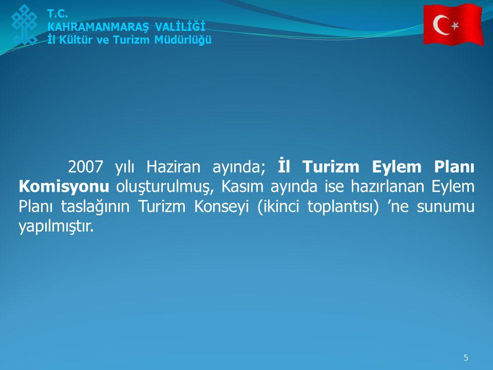 5 2007 yılı Haziran ayında; İl Turizm Eylem Planı Komisyonu oluşturulmuş, Kasım ayında ise hazırlanan Eylem Planı taslağının Turizm Konseyi (ikinci to