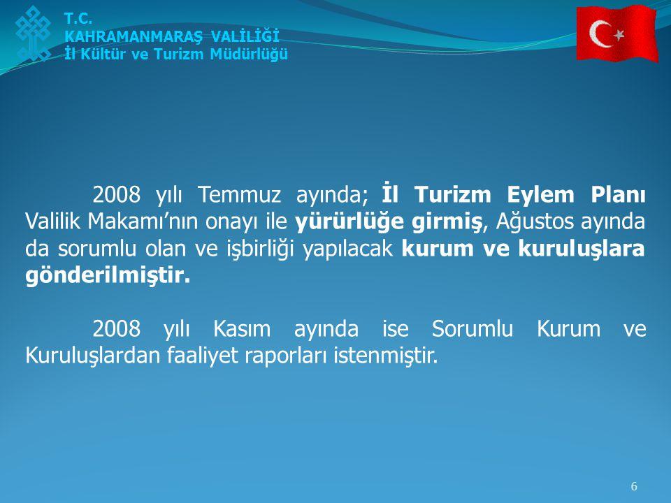 6 2008 yılı Temmuz ayında; İl Turizm Eylem Planı Valilik Makamı'nın onayı ile yürürlüğe girmiş, Ağustos ayında da sorumlu olan ve işbirliği yapılacak