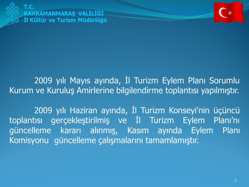8 2010 yılı Şubat ayında, revize edilerek güncellenen Turizm Eylem Planı sorumlu olan ve işbirliği yapılacak kurum ve kuruluşlara gönderilmiştir.