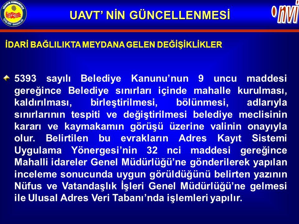 İDARİ BAĞLILIKTA MEYDANA GELEN DEĞİŞİKLİKLER 5393 sayılı Belediye Kanunu'nun 9 uncu maddesi gereğince Belediye sınırları içinde mahalle kurulması, kal