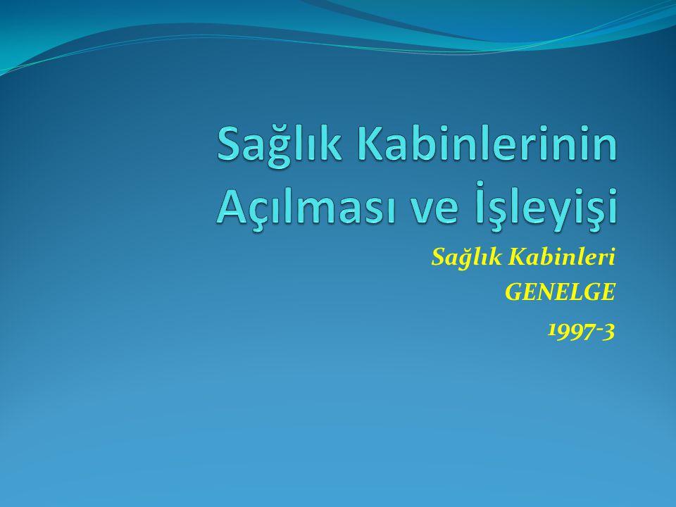 Sağlık Kabinleri GENELGE 1997-3