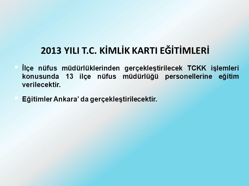 2013 YILI T.C. KİMLİK KARTI EĞİTİMLERİ  İlçe nüfus müdürlüklerinden gerçekleştirilecek TCKK işlemleri konusunda 13 ilçe nüfus müdürlüğü personellerin