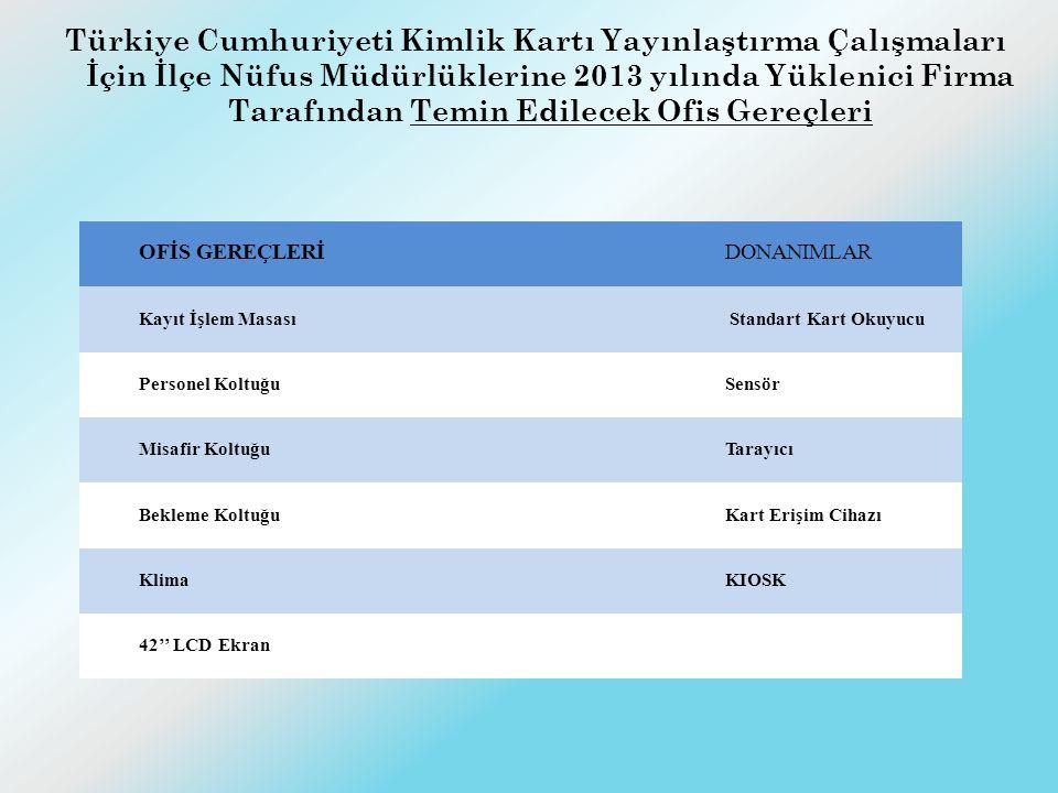 Türkiye Cumhuriyeti Kimlik Kartı Yayınlaştırma Çalışmaları İçin İlçe Nüfus Müdürlüklerine 2013 yılında Yüklenici Firma Tarafından Temin Edilecek Ofis