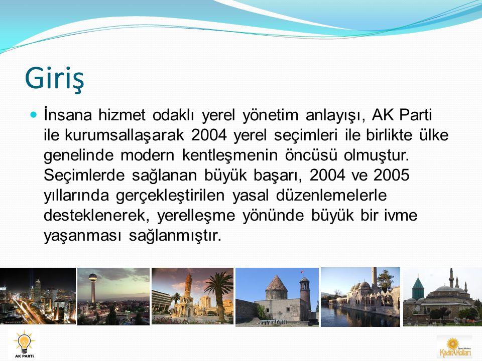 Giriş İnsana hizmet odaklı yerel yönetim anlayışı, AK Parti ile kurumsallaşarak 2004 yerel seçimleri ile birlikte ülke genelinde modern kentleşmenin öncüsü olmuştur.
