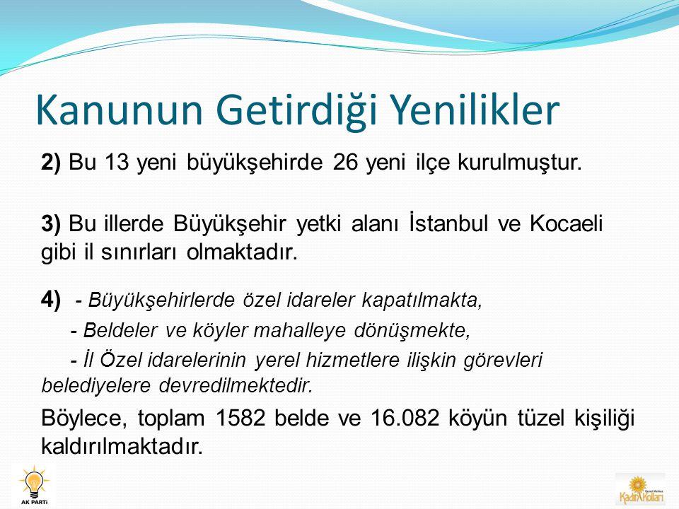 Kanunun Getirdiği Yenilikler 2) Bu 13 yeni büyükşehirde 26 yeni ilçe kurulmuştur.