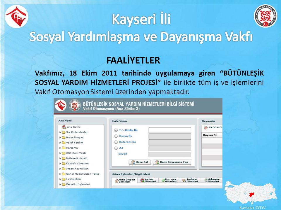 """Vakfımız, 18 Ekim 2011 tarihinde uygulamaya giren """"BÜTÜNLEŞİK SOSYAL YARDIM HİZMETLERİ PROJESİ"""" ile birlikte tüm iş ve işlemlerini Vakıf Otomasyon Sis"""