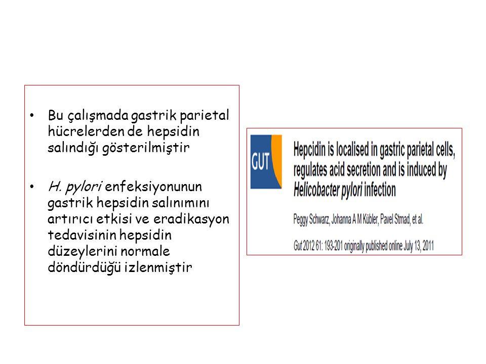 Bu çalışmada gastrik parietal hücrelerden de hepsidin salındığı gösterilmiştir H. pylori enfeksiyonunun gastrik hepsidin salınımını artırıcı etkisi ve