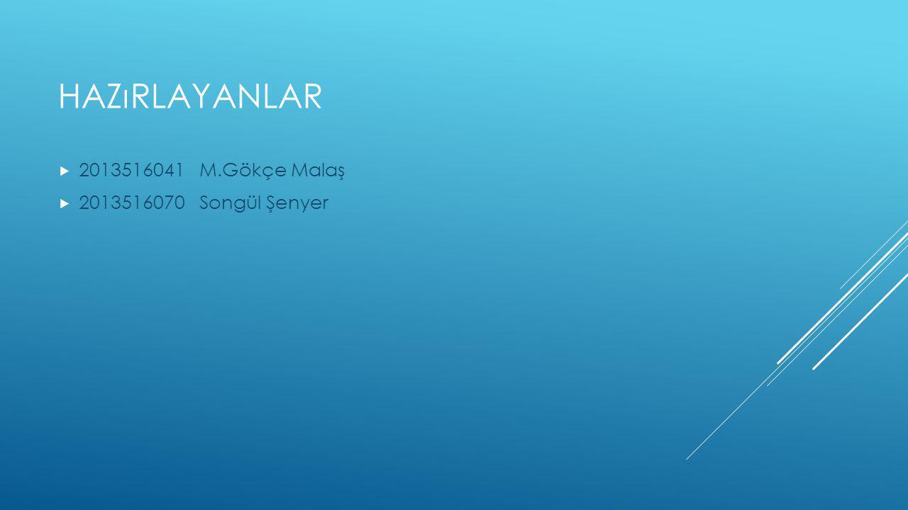 HAZıRLAYANLAR  2013516041 M.Gökçe Malaş  2013516070 Songül Şenyer