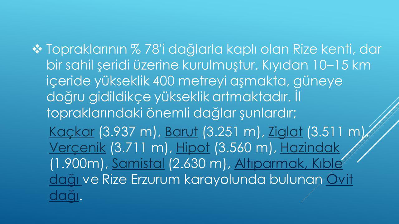  Topraklarının % 78 i dağlarla kaplı olan Rize kenti, dar bir sahil şeridi üzerine kurulmuştur.